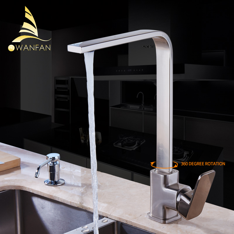 ФОТО Free Shipping Brushed Nickel Kitchen faucet Brass Swivel Kitchen Sinks Faucet 360 Degree Rotating Kitchen Mixer Tap GYD-7119N