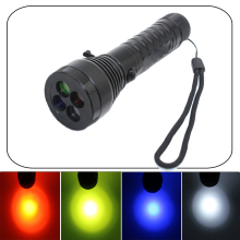 powerful led flashlight Cree XML T6 2000 lumen led linternas 4 color filter Emergency Signal Light camping by 18650 or AAA