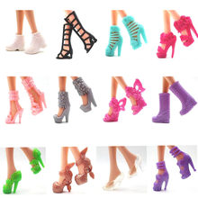 NK 12 Pairs Doll Shoes Fashion Cute Heels Colorful Assorted Shoes For Barbie Doll Accessories Mix styles High Quality Baby Toy(China)