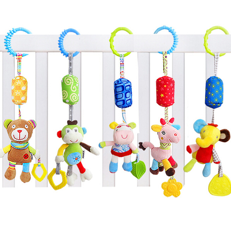 New Baby Crib Stroller Cot Buggy Pram Car Seat Hanging Bell Rattles Dangle Toy With Sound Baby Rattles Mobiles Handbell
