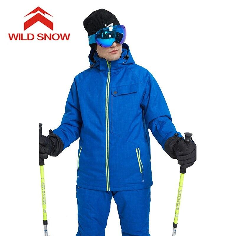 29a6db65 Traje de esquí de marca de nieve salvaje a prueba de viento a prueba de  agua para hombres, ropa de nieve cálida, juego de chaqueta para esquí y ...