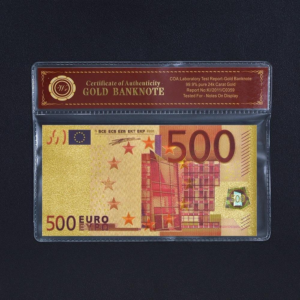 ✓Colorized 500 euro Billetes de oro colección 24 K oro plateado ...