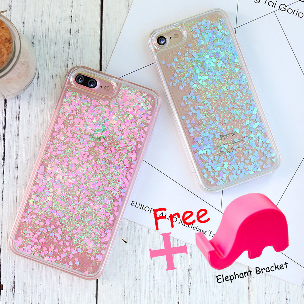 Bling Phone Case For iPhone 7 6S 6 Plus Cover Glitter Transparent Hard PC Case For iPhone 6Plus 7Plus 4S 5 5S 5C SE Cover Luxury