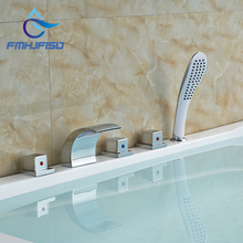 Wholesale And Retail Promotion Modern Roman Waterfall Spout Bathroom Tub Faucet Hand Shower Sprayer Mixer Tap