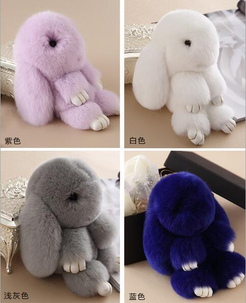 11 Color  Genuine Rex rabbit Furs animal Keychain Pendant Bag Car Charm Tag Cute Mini Rabbit Toy Doll Real Fur Monster Keychains