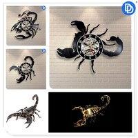12 inch Scorpion Modern Design Vinyl Record 3D Wall Clock Animals Scorpions Wall Sticker Craft Decoration