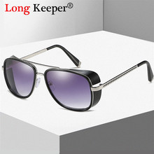 LongKeeper Pilot Sunglasses Men Women Male iron Man Steampunk Sun Glasses for Driving Eyeglasses Gafas de sol feminino UV400