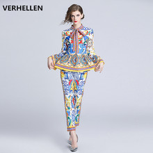 VERHELLEN Designer Runway Suit 2019 Autumn Long Sleeve Bow Collar 2 Piece Set Women