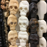 MY0761 32x23mm Multi Color Skull Carved Bone Beads,Skull Head Shape Drilled Beads,OX Bone Beads 13Pcs /Lot