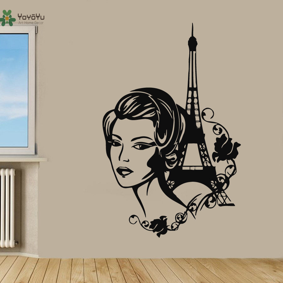 YOYOYU Wall Decal Woman Wall Sticker Vinyl Removeable Mural In Paris Eiffel Tower Art Beauty Muursticker Home Decor YO315 in Wall Stickers from Home Garden