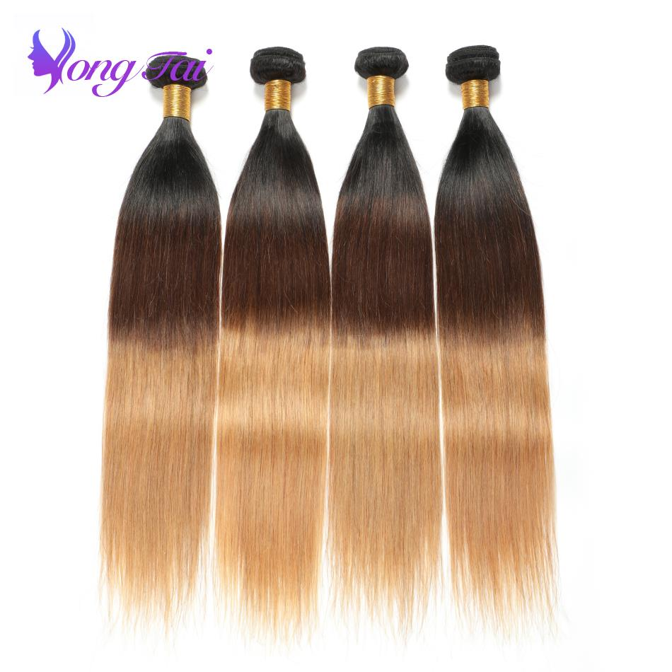 Brazilian Straight Remy Human hair weaving 4 Bundles per lot 1B 4 27 Ombre Human hair