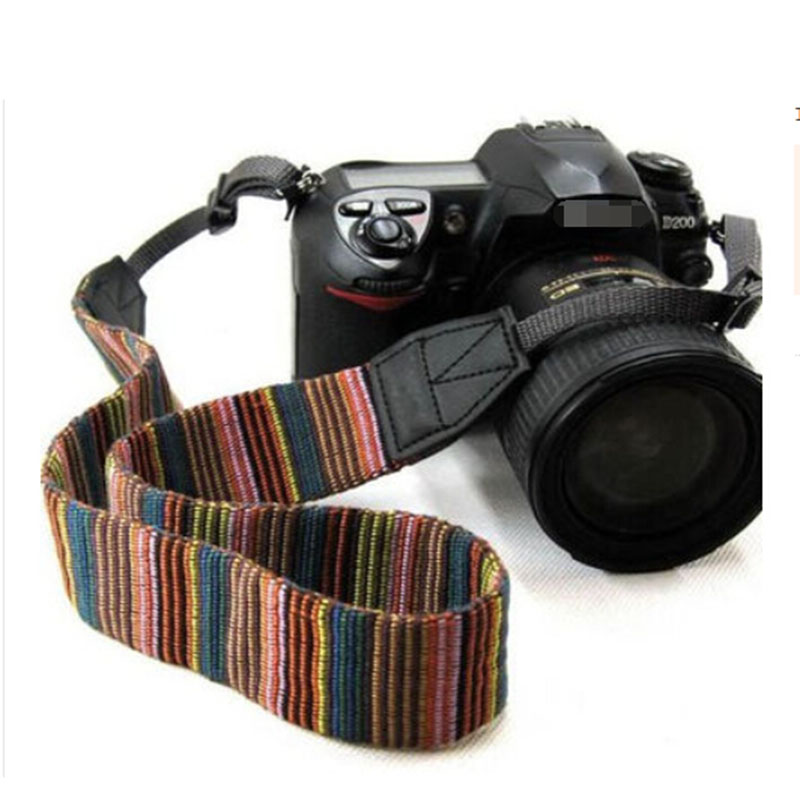 LC005 Universal Color Stripes Soft Red Camera Neck Straps Shoulder Strap Belt Grip For Nikon Canon Panasonic Sony Pentax  DSLR