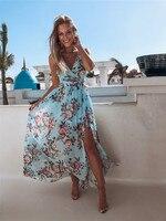 Bohême 019 femmes Boho Floral longue Maxi robe sans manches profonde V taille haute fendue robe d'été plage Style vacances robes de fête