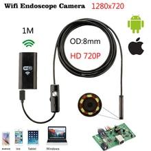 купить 720P 8mm 1/2/5/3.5M Cable Waterproof HD WIFI Endoscope Inspection Camera Android IOS Mini Wifi Camera Car Inspection Endoscopic дешево