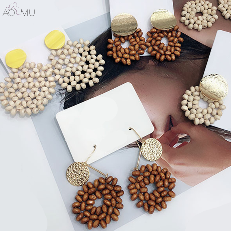 US $2.49 14% OFF|AOMU Korea Vintage Colorful Metal Wafer Hollow Out Round Circle Wooden Beads Flower Big Long Stud Earrings Set For Women Girl-in Stud Earrings from Jewelry & Accessories on Aliexpress.com | Alibaba Group