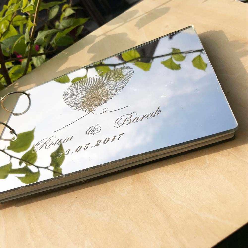Presente para Os Casais Rústico personalizado fingerprint Wedding Guest Book Livro de Visitas Livro Espelho Presente Nupcial Do Chuveiro Do Casamento Do Vintage