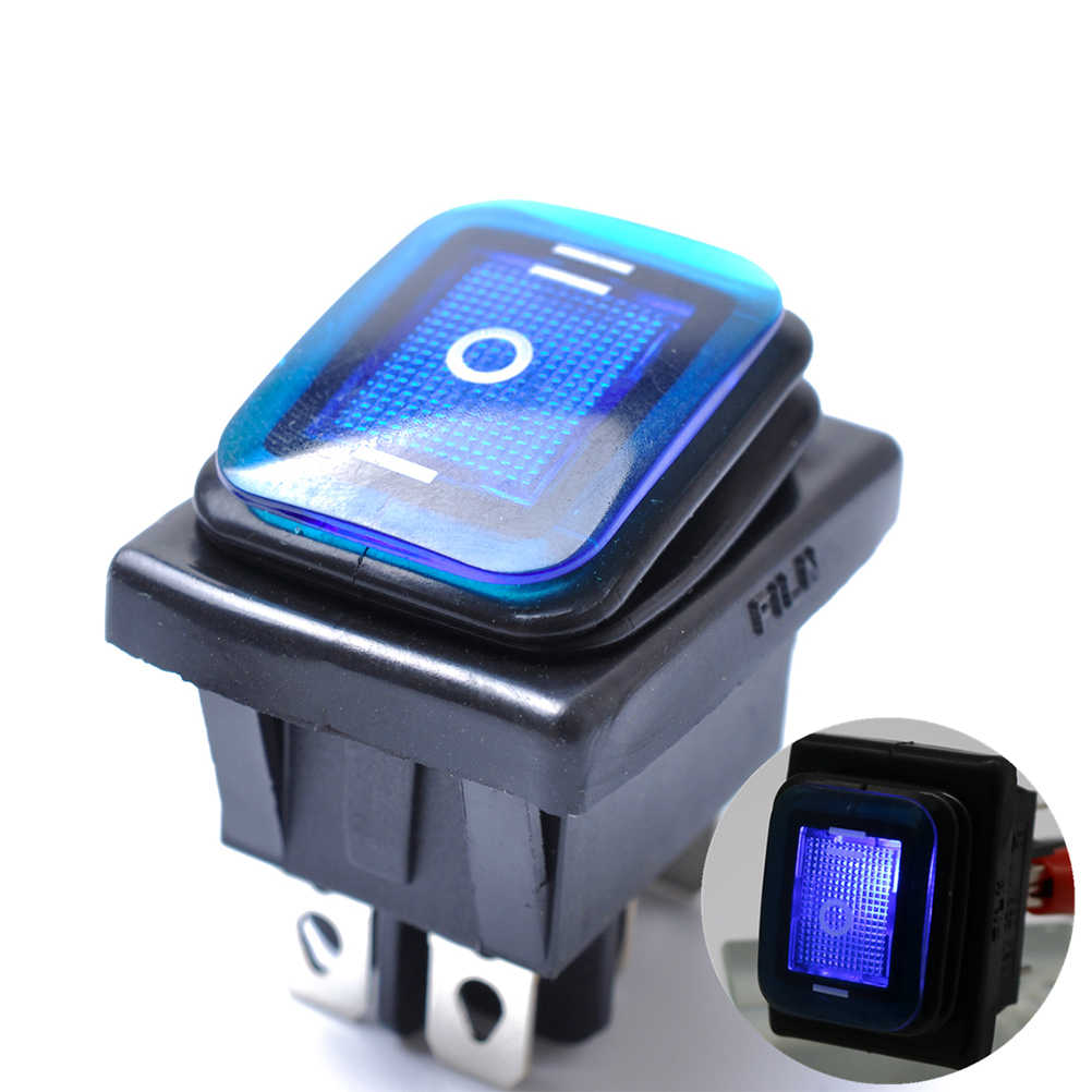 Rocker Toggle Switch On-Off-On 6 Pins 12V DC Car Boat Automobiles Waterproof LED Latching Switches (Blue Light)