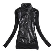 New Fashion Women's Slim shirt Mesh Yarn Sexy Ladies Tops Black Pu Leather stitching Casual blouse Women s928