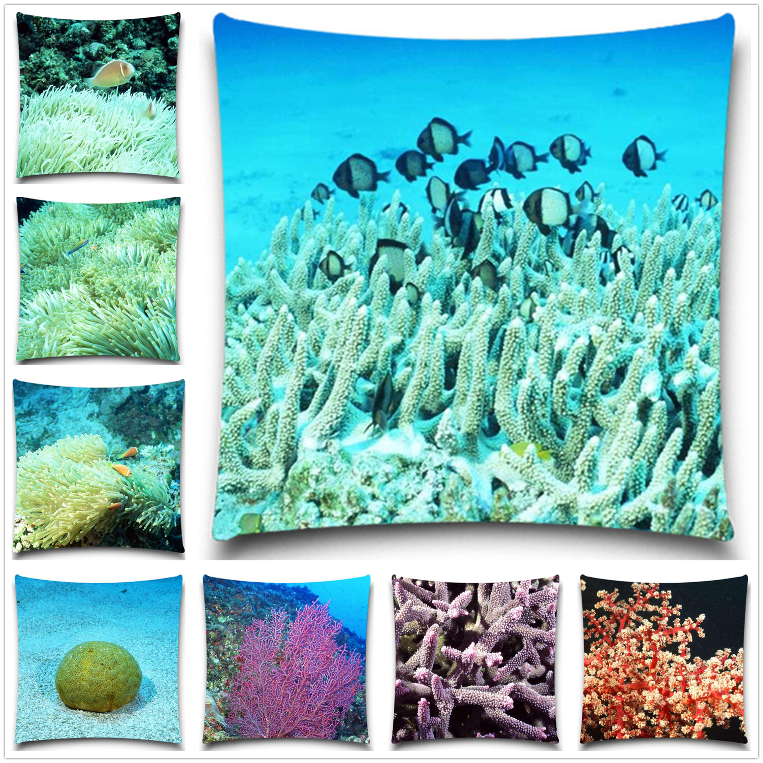 Cotton/Polyester Pillow case Sofa Decor Couch 5 size Without Filling Undersea World Cushion Cover For Sofa Decorative