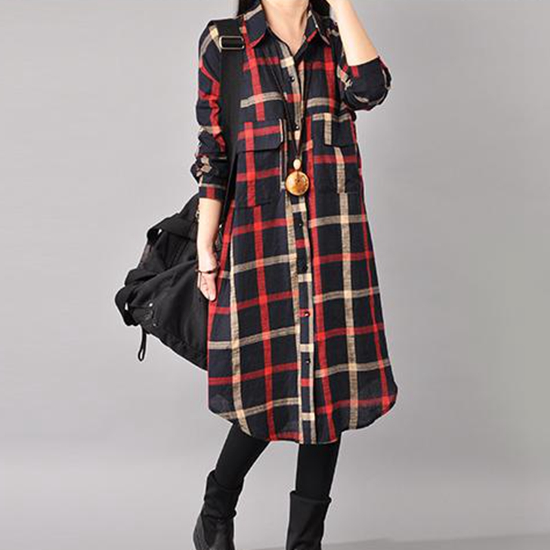 Manubea três quartos de manga grid blusa feminina casual longo xadrez camisas femininas topos e blusas treliça solta