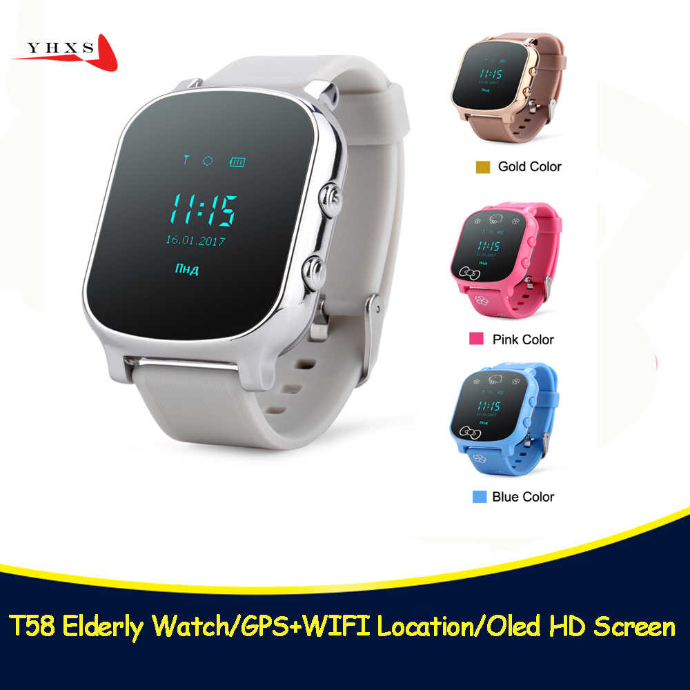 Smart Kid Safe OLED Watch SOS Call GPS WIFI Location Finder Tracker for Child Elder Anti-Lost Remote Monitor Baby Wristwatch T58
