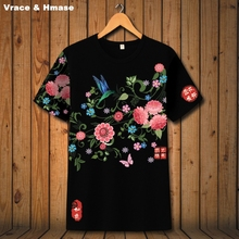 416df52b9a2 Chinese style exquisite peach pattern boutique short sleeve t-shirt Summer  2017 New fashion breathable quality t shirt men S-3XL