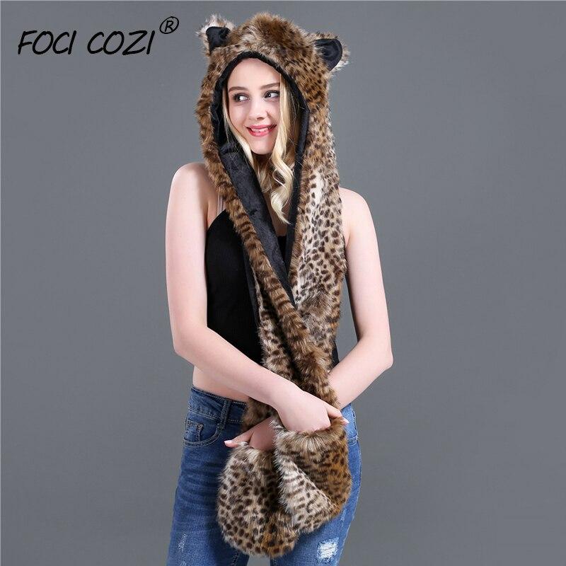 2019 Leopard Full Animal Hood Hoddie Hat Faux Fur 3 In 1 Function Women Hoodie Soft Flufffy Cosplay Hat Plush Hood Scarf Gloves