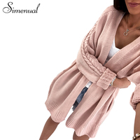 Simenual Autumn winter sweaters cardigans for women 2018 twist knitwear pockets fashion solid slim female long cardigan hot sale