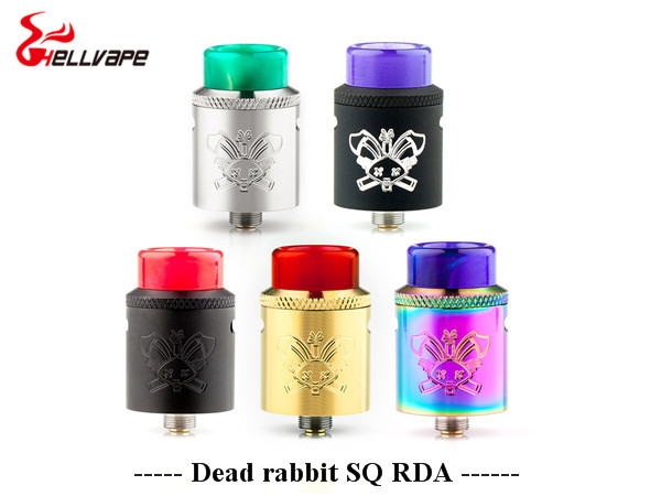 New color Hellvape Dead Rabbit BF SQ BF RDA Tank aluminum Supports Single/Dual Coil For elctronic cigarette box Mod original joyetech procore remix tank 2ml 4 5ml rta rda sub ohm atomizer support dual single coil electronic cigarette tank