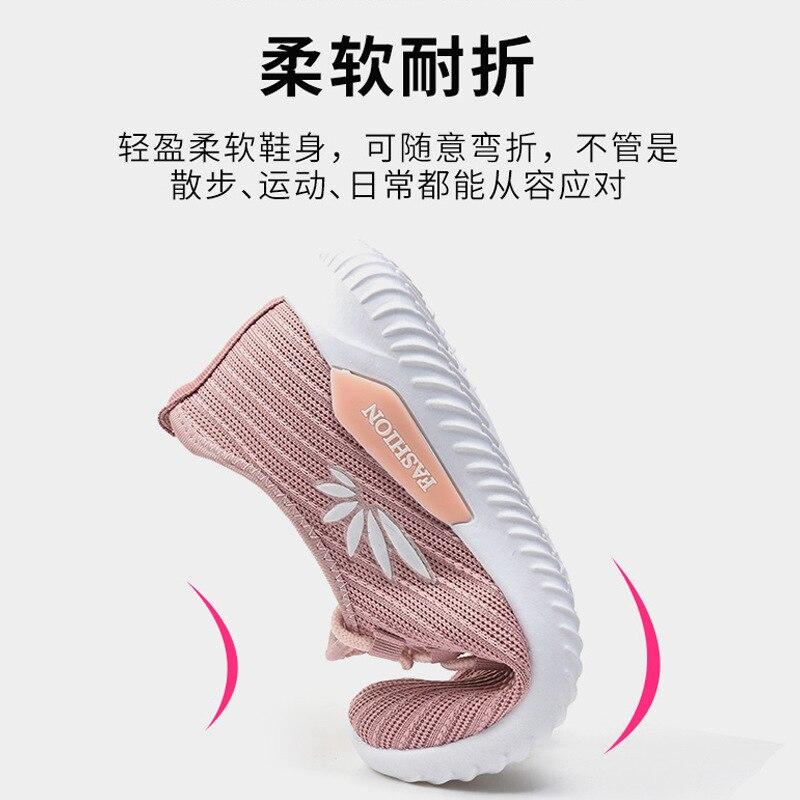 WDHKUN Women Plus Size Spring Sneakers Knitting Sock Female Vulcanized Shoes Casual Slip On Flat Shoe Mesh Soft Walking Footwear
