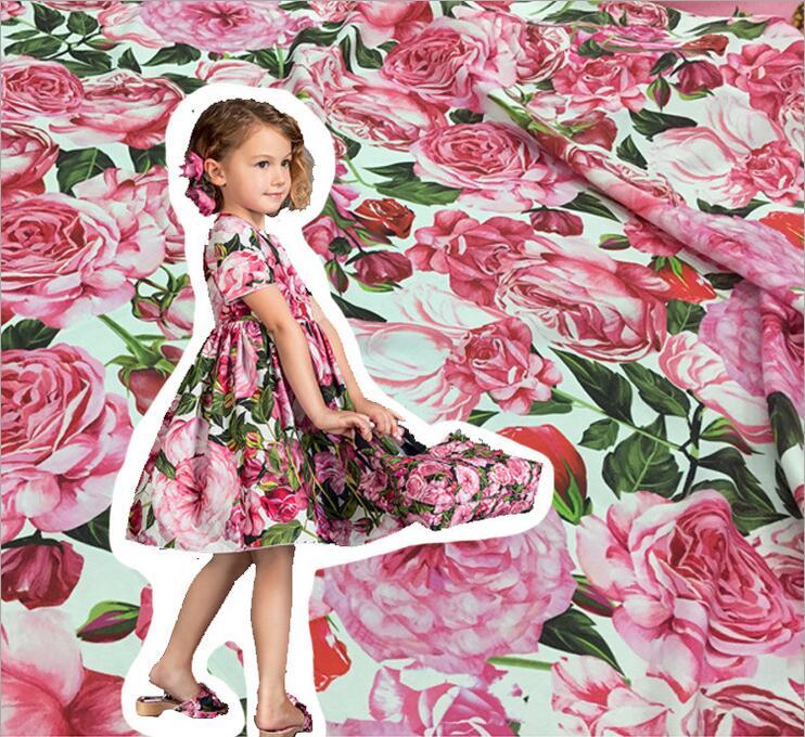 Цветы набивные ткани, лён хлопок ткани для женщин детская одежда, розовыми цветами льняной ткани для мамы платье для ребенка ткань ...