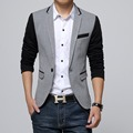 New Slim Fit Casual jacket Cotton Men Blazer Jacket Single Button Gray Mens Suit Jacket 2016 Autumn Patchwork Coat Male Suite