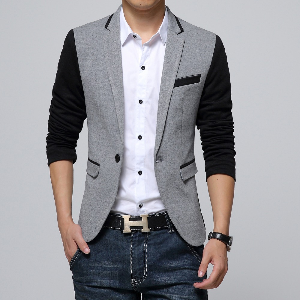 Nueva chaqueta Slim Fit Casual de algodón para hombre Blazer Jacket Single Button Grey Mens Suit Jacket 2018 otoño Patchwork Coat Male Suite