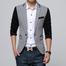 New Slim Fit Casual jacket Cotton Men Blazer Jacket Single Button Gray Mens