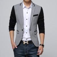 New Slim Fit Casual Jacket Cotton Men Blazer Jacket Single Button Gray Mens Suit Jacket 2014