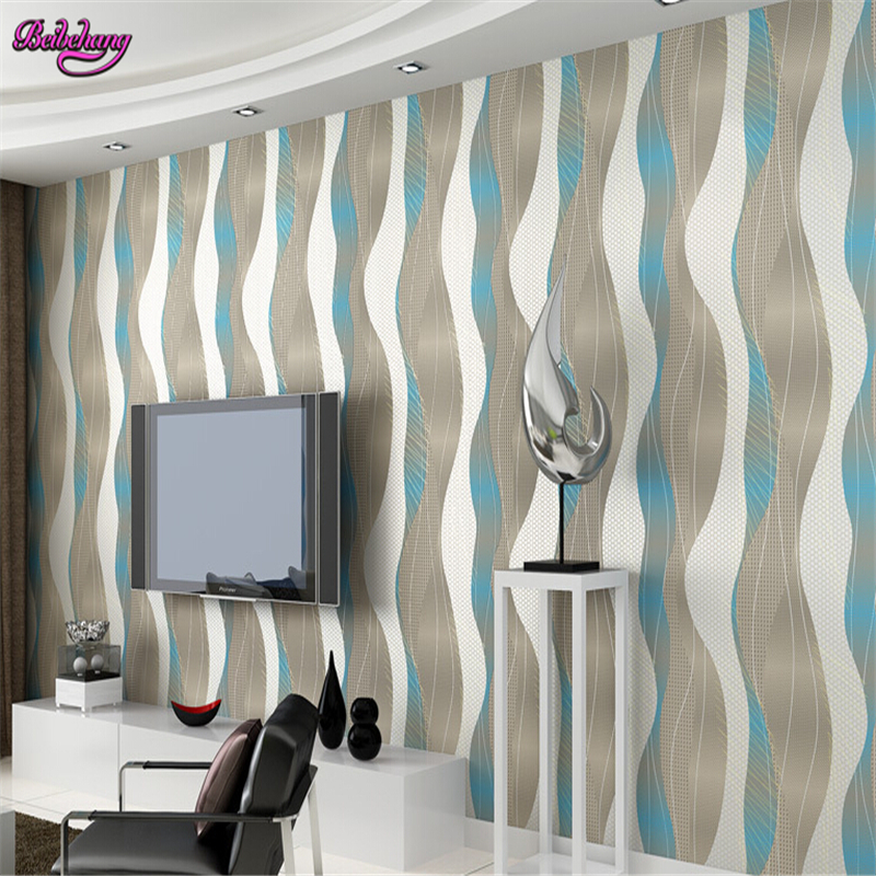 beibehang papel de parede non woven stripe wallpaper living room TV background wall paper bedroom curve warm modern simplicity