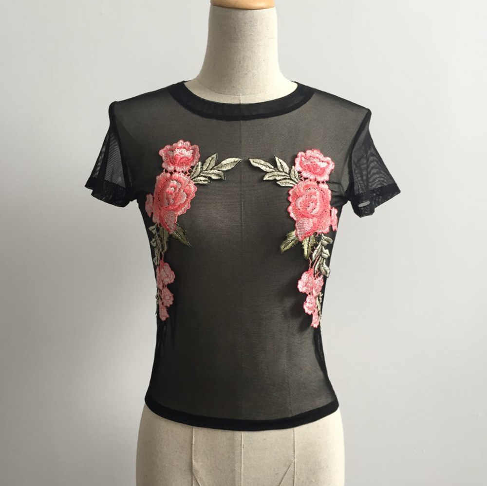 0c672b474114 ... RoRoDox Rose Embroidery Mesh Top T Shirt Women See Through Tee Summer O  Neck Fashion Mesh ...