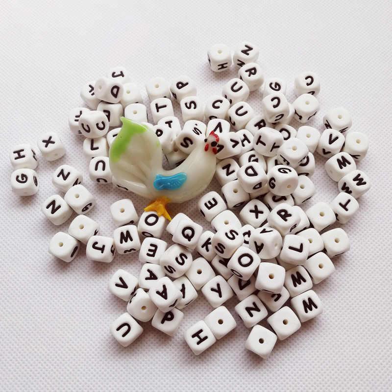 1 個の正方形シリコーン歯が生えるビーズ中空アルファベットスターハートチュー非毒性 Bpa フリー 100% 食品グレードシリコーン手紙ビーズ
