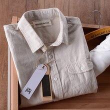 Chemise en lin à manches longues pour hommes, chemise de marque italienne, à la mode, en coton, solide, Slim Fit