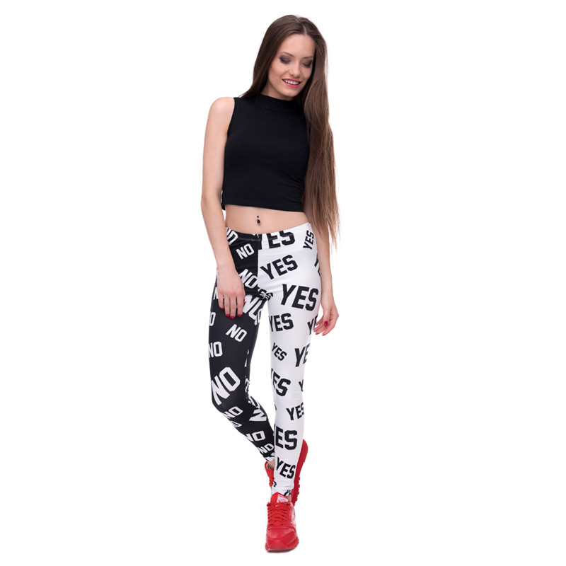 FCCEXIO 2017 Womens Summer Fashion Elasticity Yes and No Printed Slim Fit Legging Workout Trousers Casual Home Pants Leggings