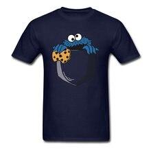 Camiseta de bolso engraçado do monstro do biscoito t camisa masculina camiseta azul marinho topos nerd comics camiseta festa tees américa criança dos desenhos animados roupas