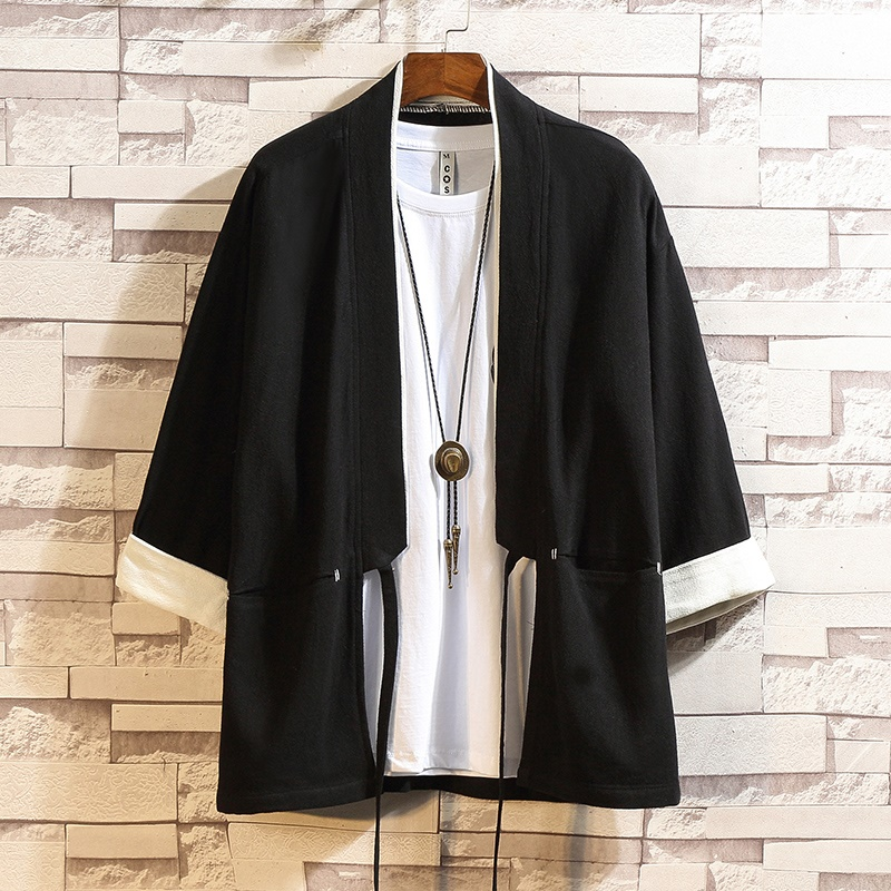 Kimono Cardigan Men 2019 Japanese Fashion Shirt Kimonos Karate Samurai Costume Yukata Haori Jacket Japanese Pajamas Man FF2125