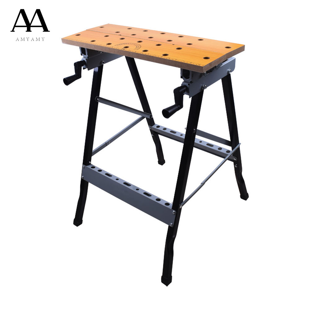 AMYAMY Folding Work Bench Steel Table Garage Portable Tool fold Workbench for woodworking 200 lbs Capacity