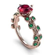 Gorgeous Rose Gold Filled Round Cut Crystal Red Flower Green leaf Women Cocktail Rings Size 6-10 party Jewelry Gifts HOT 2019