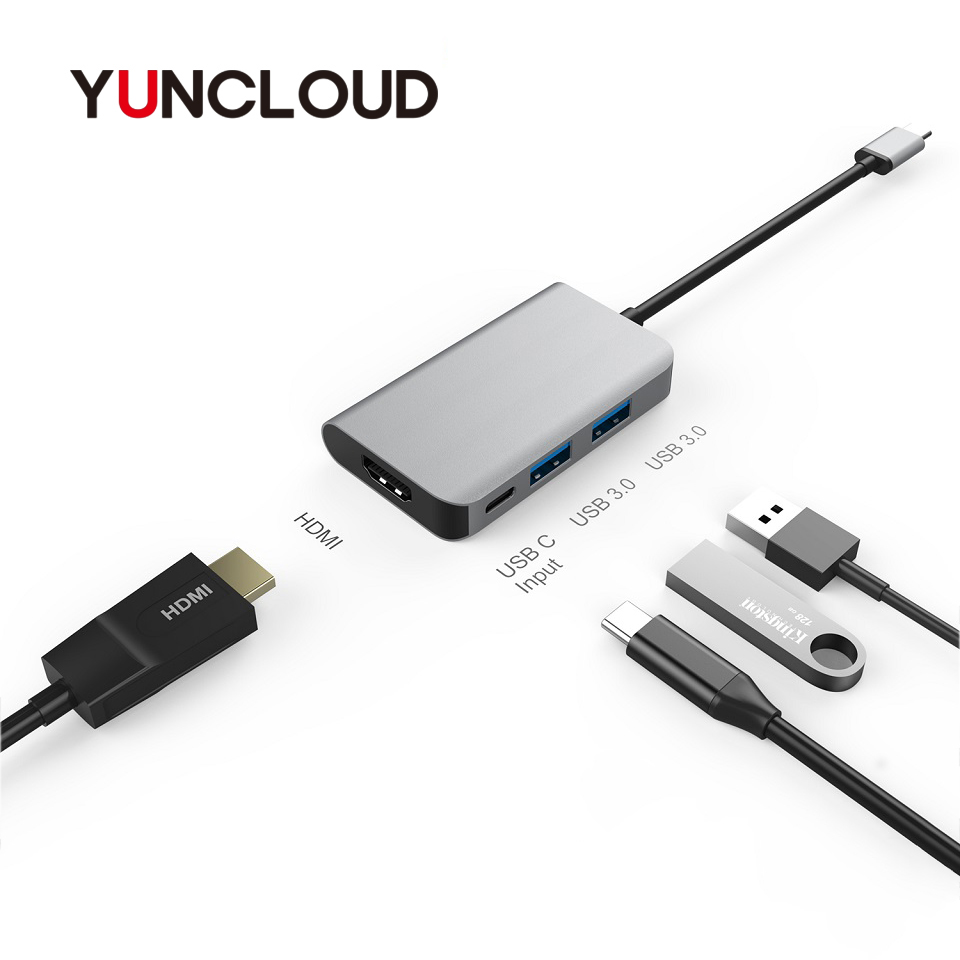 цена на YUNCLOUD USB Type-C HUB to HDMI 4K Type C PD Super Charging USB C Dock with 2*USB 3.0 For Macbook Samsung S9/S8+ Huawei P20 Pro