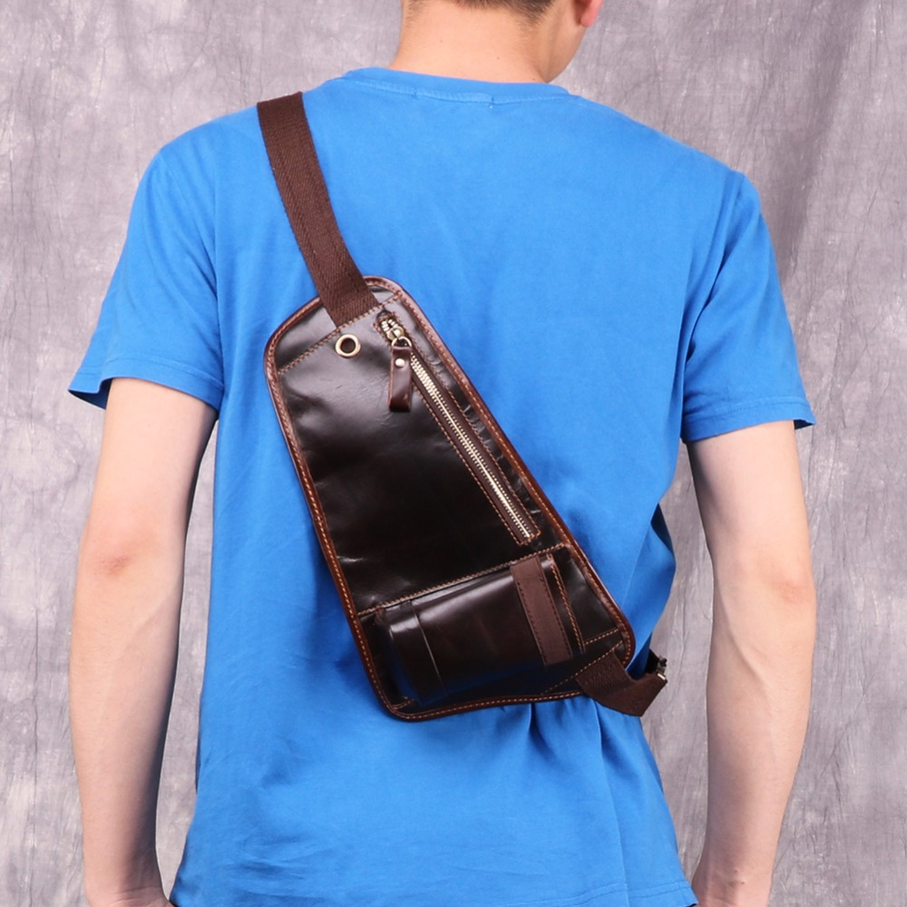 JOYIR Genuine Leather Chest Bags Belt Men Phone Pouch Bags Travel Casual Messenger Crossbody Bags For Man Small Thin Chest Pack in Crossbody Bags from Luggage Bags