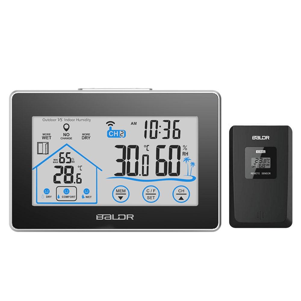 Baldr Wireless Wetter Station Digital Touch Hygrometer Feuchtigkeit Meter Temperatur Sensor Thermometer Indoor Outdoor Wanduhr
