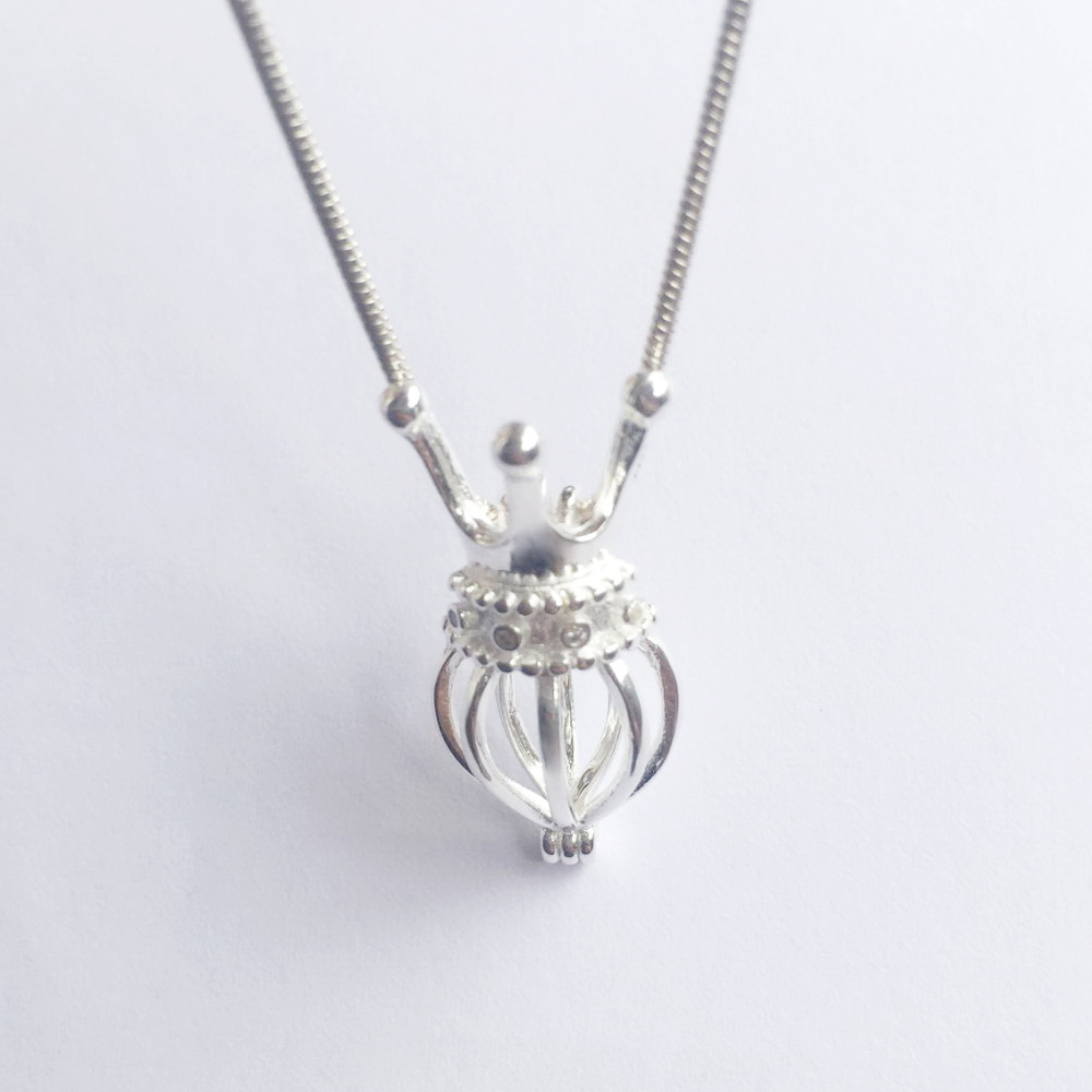 925 Silver Inlay Gems Crown Heart Locket Cage, Sterling Silver Crown of Jewels Can Hold A Pearl Gem Bead Cage Pendant Mounting locket