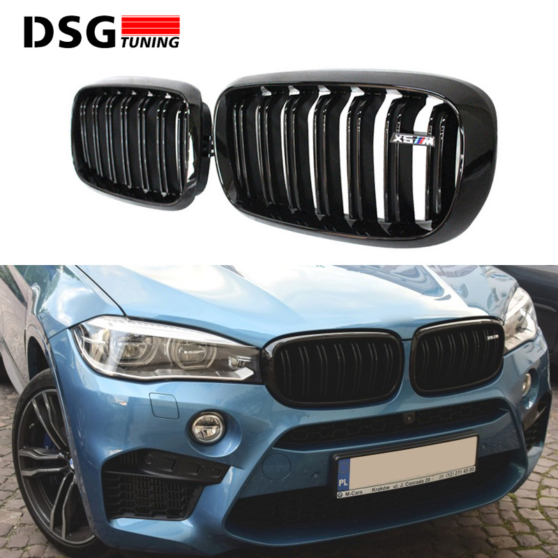 F15 F16 ABS Material Dual Slat Front Kidney Mesh Grill Grille For BMW X5 F15 X6 F16 2015 2016 SUV vehicle xDrive50i xDrive30d pair gloss matt black m color front kidney racing bumper grille grill for bmw x5 f15 x6 f16 x5m f85 x6m f86 2014 2015 2016 2017