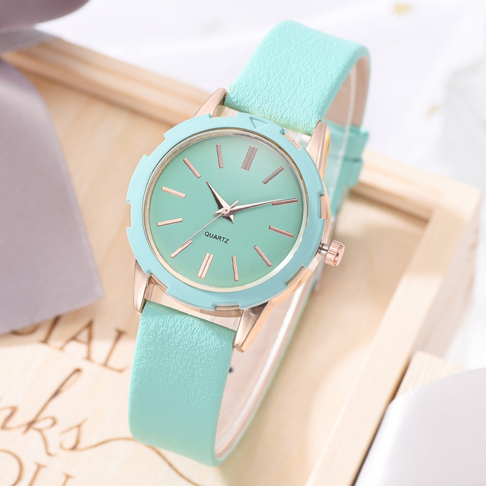 Ladies Dress Watches Fashion Sweet Leather Strap Sports Quartz Clock Ladies Wrist Watch Montre Femme Reloj Mujer Zegarek Damski